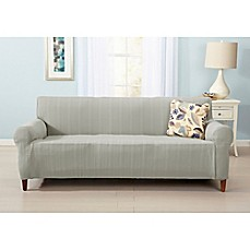 image of great bay home darla strapless cable knit sofa slipcover