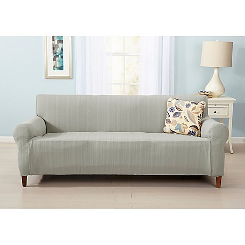 Great Bay Home Darla Strapless Cable Knit Sofa Slipcover Bed Bath Amp Beyond