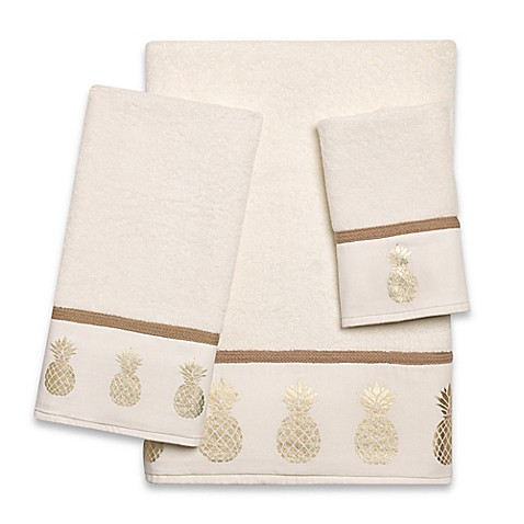 Golden Pineapple Hand Towel In Ivory Bed Bath Amp Beyond