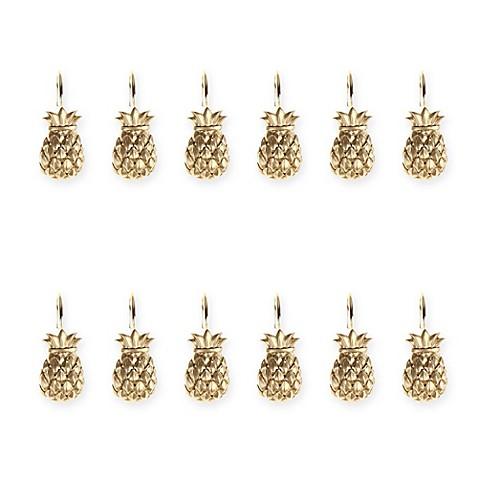 Golden Pineapple Shower Hooks in Ivory (Set of 12) - Bed Bath & Beyond