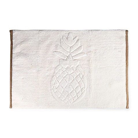 Golden Pineapple 21 Inch X 33 Inch Bath Rug In Ivory Bed