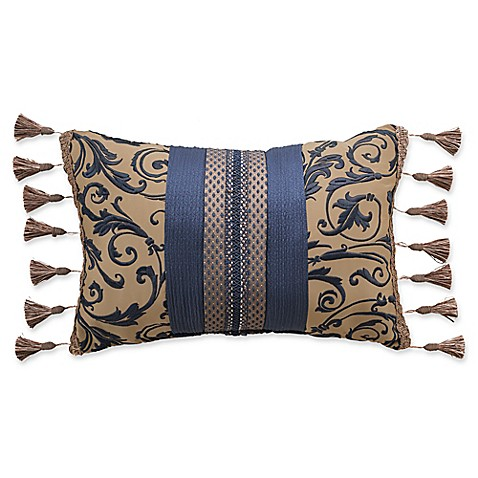 Croscill Julien Fashion Oblong Throw Pillow in Gold/Navy - Bed Bath & Beyond