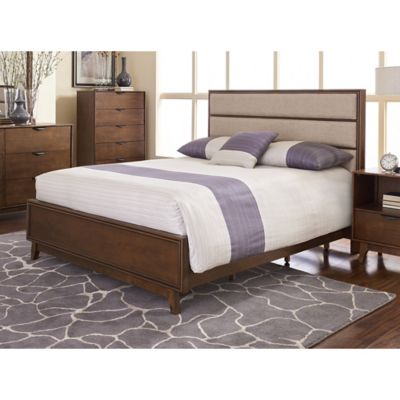 image of Mid-Mod Panel Bed in Cinnamon
