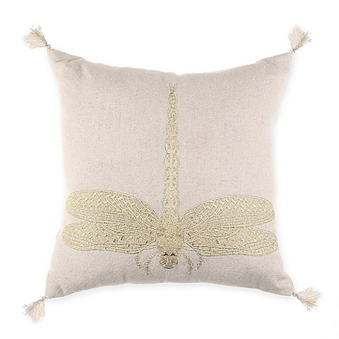 Throw Pillow With Dragonfly : Dragonfly Embroidered Throw Pillow in Natural - Bed Bath & Beyond