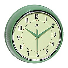image of infinity Instruments Retro Metal Wall Clock in Green