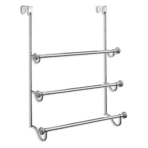Interdesign York 3 Tier Over The Door Towel Rack In Brushed Stainless Steel Bed Bath Beyond