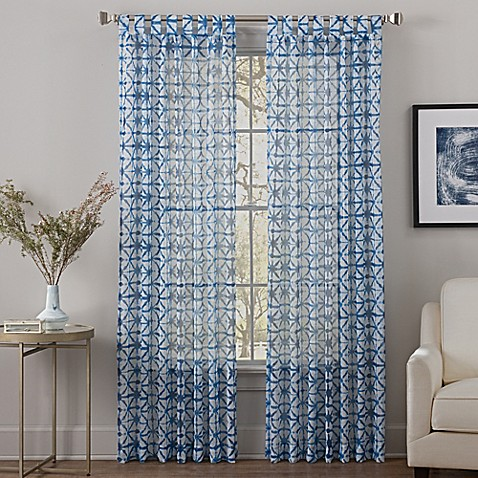 Buy Sumatra 84 Inch Tab Top Sheer Window Curtain Panel In Blue From Bed Bath Beyond
