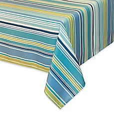 image of Capri Stripe Indoor/Outdoor Tablecloth with Umbrella Hole in Aqua