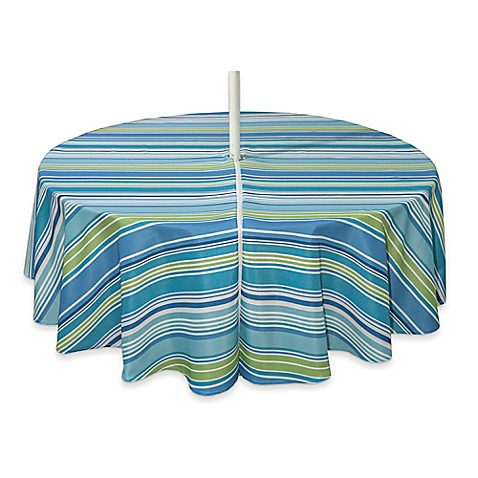 Buy Capri Stripe 70 Inch Round Tablecloth With Umbrella