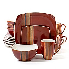 image of Gibson Elite Regent Classic Square 16-Piece Dinnerware Set