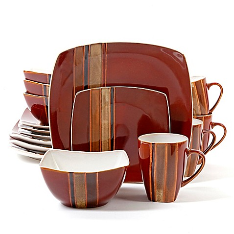 Gibson Elite Regent Classic Square 16-Piece Dinnerware Set ...
