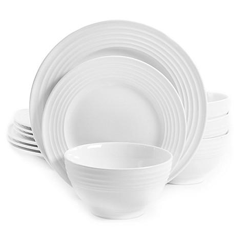 Gibson Home Plaza Café 12-Piece Dinnerware Set in White - Bed Bath ...