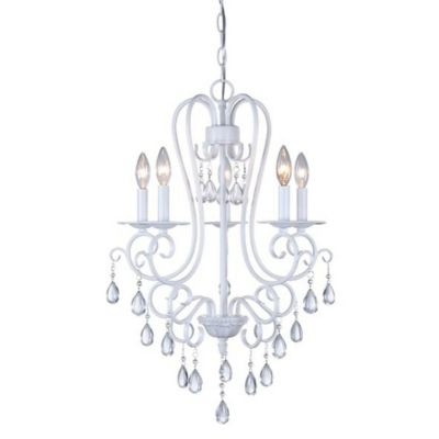 image of Décor Therapy 5-Light Crystal Chandelier in White