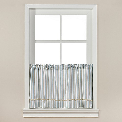 Buy harbor knots 36 inch rod pocket kitchen window curtain tier pair in white from bed bath beyond for 36 inch bathroom window curtains