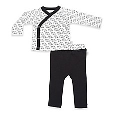 image of Finn by Finn + Emma 2-Piece Organic Car Kimono and Pant Set in Black/White