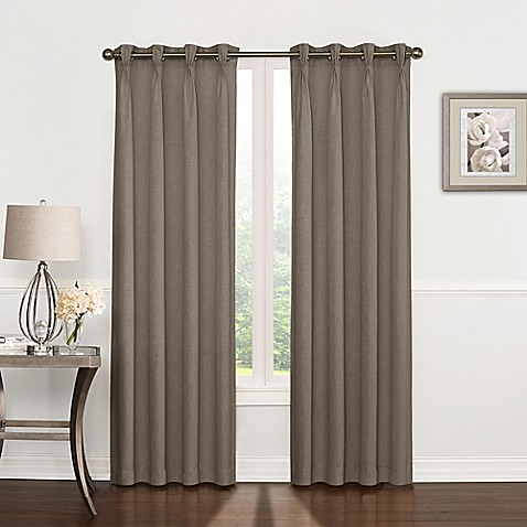 Buy Riverstone Pinch Pleat 63 Inch Grommet Top Window Curtain Panel In Stone From Bed Bath Beyond