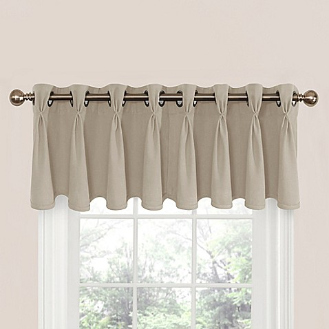 Buy Riverstone Pinch Pleat Scalloped Window Valance In Linen From Bed Bath Beyond