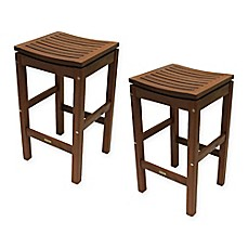 image of Outdoor Interiors® Eucalyptus Outdoor Pub Stools in Brown Umber (Set of 2)