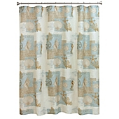 Bacova Coastal Moonlight Shower Curtain in Blue/Tan - Bed Bath ...
