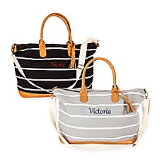 image of Cathy's Concepts Striped Canvas Weekender Tote