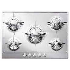 image of SMEG Piano Design 28-Inch Gas Cooktop in Polished Stainless Steel