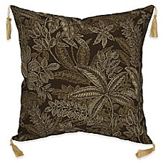 image of Bombay® Palmetto 16-Inch Square Outdoor Throw Pillow with Tassels in Espresso