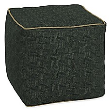 image of Bombay® Tangier Stitch 17-Inch Square Outdoor Pouf in Green