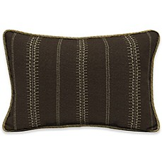 image of Bombay® Trevor Stripe 13-Inch x 20-Inch Outdoor Lumbar Pillow with Welt in Espresso