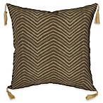 image of Bombay® Zebra 16-Inch Square Outdoor Throw Pillow with Tassels in Tan