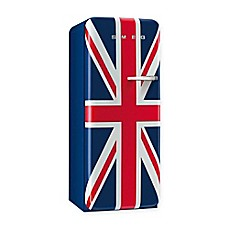 image of Smeg 9.22 cu. ft. '50s Style Left  Hinge Refrigerator/Ice Compartment Top in Union Jack