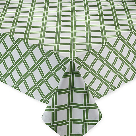 Bamboo Lattice Print Tablecloth In Green White Bed Bath