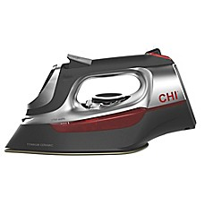 image of CHI® Electronic Iron with Retractable Cord in Black/Red