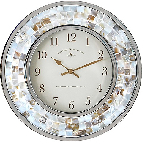 image of firstime pearl mosaic 10 14 inch wall clock - Decorative Wall Clocks