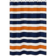 Image Of Sweet Jojo Designs Navy And Orange Stripe Shower Curtain  Kids Shower Curtain
