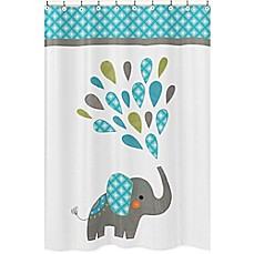 Image Of Sweet Jojo Designs Mod Elephant Shower Curtain In Turquoise/White