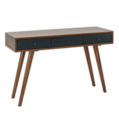 image of Madison Park Rigby 2-Drawer Writing Desk in Pecan/Blue