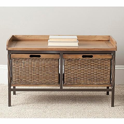 Safavieh Noah 2 Drawer Wooden Storage Bench In Natural
