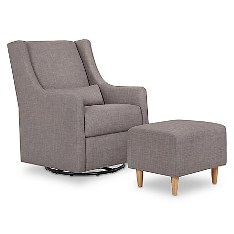 Babyletto Toco Swivel Glider And Ottoman In Grey