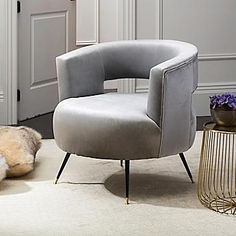 image of safavieh manet velvet accent chair