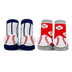 image of Waddle® 2-Pack Baseball Rattle Socks in White