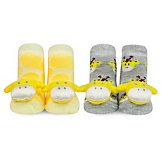 image of Waddle® 2-Pack Giraffe Rattle Socks in Yellow