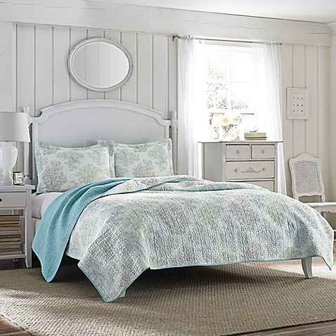 laura ashley saltwater reversible quilt set bed bath beyond. Black Bedroom Furniture Sets. Home Design Ideas