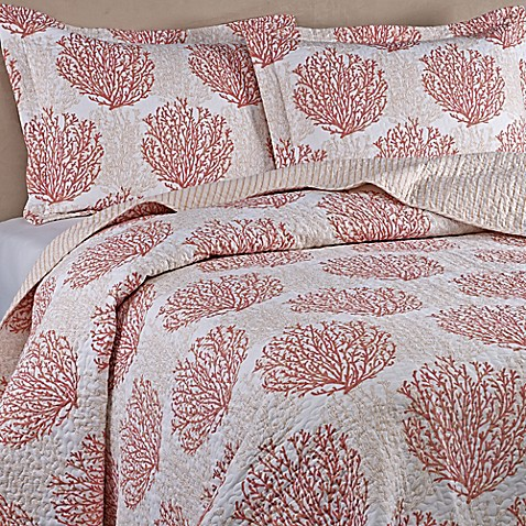 buy laura ashley coral coast king quilt set in coral from bed bath beyond. Black Bedroom Furniture Sets. Home Design Ideas