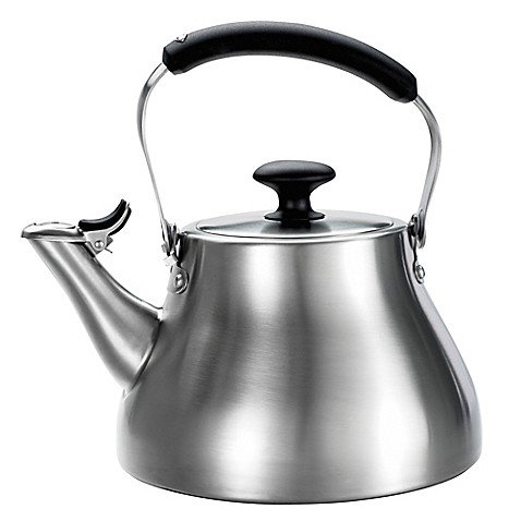 oxo good grips 174 brushed stainless steel tea kettle bed