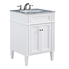 image of Park Ave 24-Inch Single Vanity in White with Carrara White Marble Top