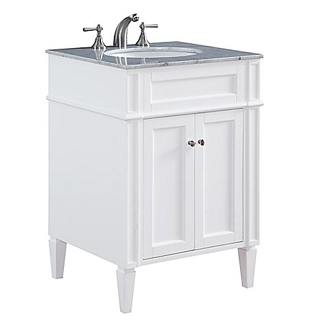 Image Of Park Ave 24 Inch Single Vanity In White With Carrara White Marble  Top