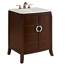 Image Of 27 Inch Single Vanity In Brown With Marble Top In Cream