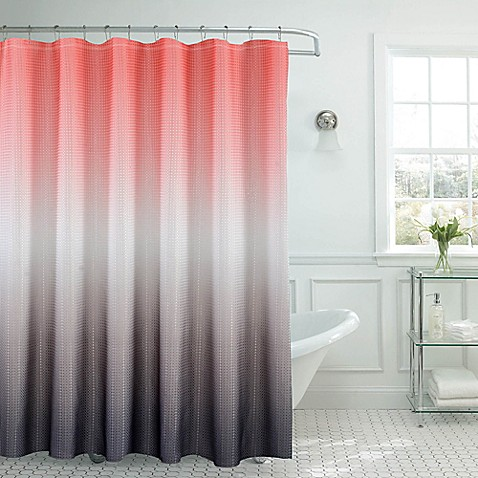 buy ombre waffle shower curtain in coral grey from bed bath beyond. Black Bedroom Furniture Sets. Home Design Ideas
