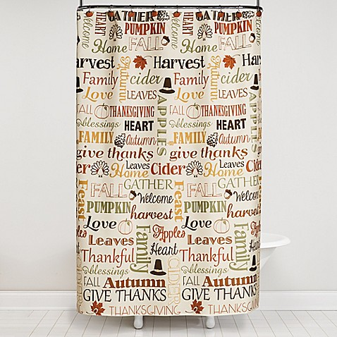 Saturday Knight 13 Piece Autumn Words Shower Curtain And Hook Set Bed Bath Beyond