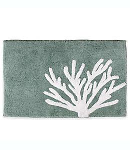 Tapete para baño Saturday Knight con diseño de coral, 53.34 x 76.2 cm en aqua